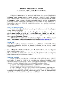 Přijímací řízení do prvních ročníků na Gymnáziu Polička pro školní