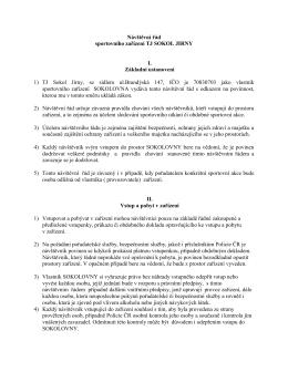 Návštěvní řád sportovního zařízení TJ SOKOL JIRNY I. Základní