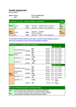 Ceník ubytování do 31.12.2015