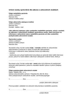 (Určení osoby oprávněné dle zákona o zdravotních službách)