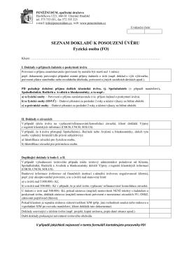 Informace o dokumentech k úvěru pro fyzické osoby