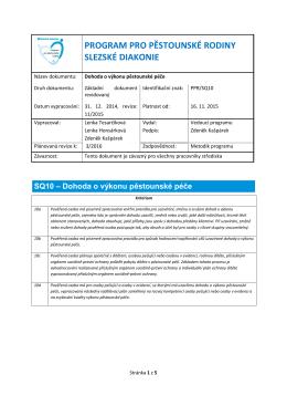 SQ10 – Dohoda o výkonu pěstounské péče
