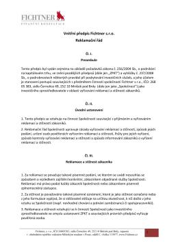 Reklamační řád Fichtner s.r.o