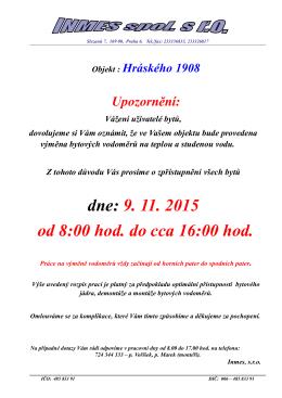 Výměna vodoměrů_2015 - SVJ Hráského 1908-1910