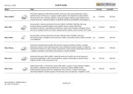 seznam produktů a ceník