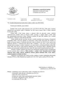 Dopis základním školám k přípravě rozvrhů 2015/2016