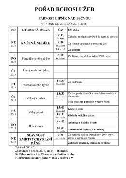 Nedělní ohlášky a pořad bohoslužeb