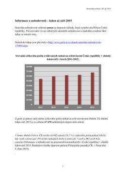 Informace o nehodovosti – leden až září 2015