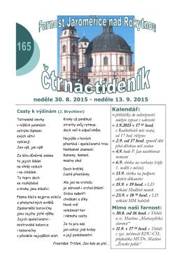 165 (30.8.-13.9.) - Římskokatolická farnost Jaroměřice nad Rokytnou