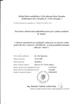 Certifikát na použití postřiků pro údržby porostů