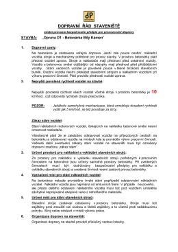 Dokumentace BOZP – rekonstrukce D1, úsek 21, Ořechov 2015