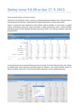 Změ ny věrzě 9.0.38 zě dně 17. 9. 2015