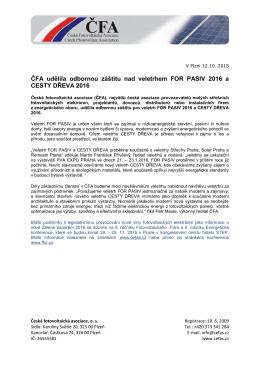ČFA udělila odbornou záštitu nad veletrhem FOR PASIV 2016 a
