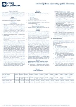 Smluvní ujednání cestovního pojištění CK Alvarez