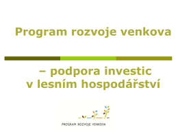 Investiční opatření Programu rozvoje venkova 2014-2020