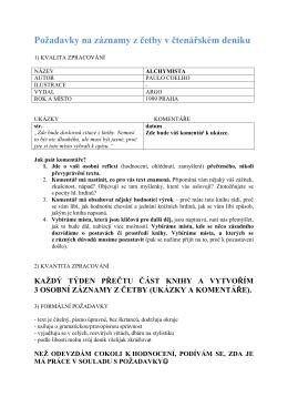 Požadavky na záznamy z četby v čtenářském deníku