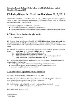 Kritéria přijímacího řízení – 7 kolo