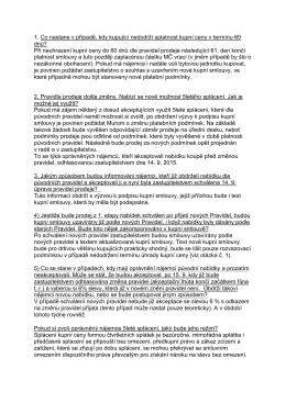 Otázky a odpovědi, týkající se pravidel prodeje bytů