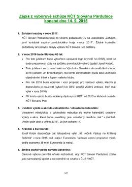 Zápis - KČT Slovan Pardubice