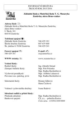 informační brožura 2015/2016 - Základní škola a Mateřská škola TG