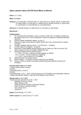 Zápis z jednání výboru ZO ČSV Nové Město na Moravě 13. 4. 2015