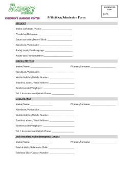 Přihláška/Admission Form