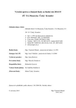 Školní rok 2014 - Základní škola TG Masaryka Český Krumlov