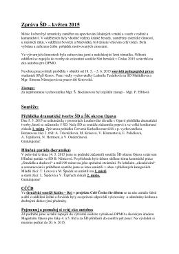 Zpráva ŠD – květen 2015 - Základní škola Opava, Mařádkova 15