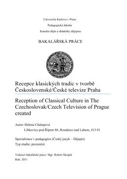 Recepce klasických tradic v tvorbě Československé/České televize