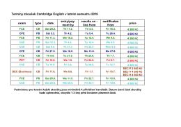 Termíny zkoušek v letním semestru 2016 exam type date entry/pay