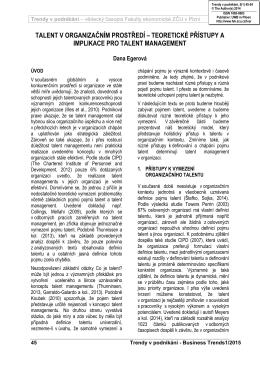 teoretické přístupy a implikace pro talent management