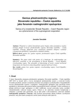 Genius přeshranićního regionu Slovenská republika – Ćeská