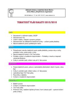 tematický plán baletu 2015-2016 rozpis aktivit v