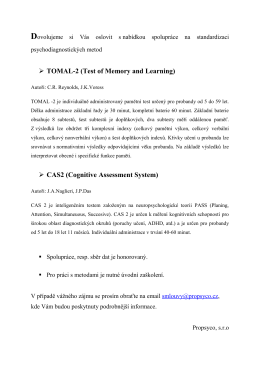 TOMAL-2 (Test of Memory and Learning) CAS2 (Cognitive