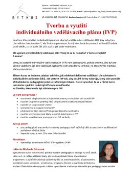 Tvorba a využití individuálního vzdělávacího plánu (IVP)