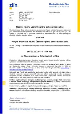 Veřejné projednání návrhu Územ.plánu Bohuslavice u Zl. dne 23.9.2