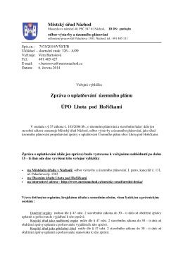 Zpráva o uplatňování územního plánu