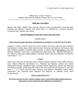 veřejná vyhláška - doručení návrhu Územního plánu Rokytnice nad