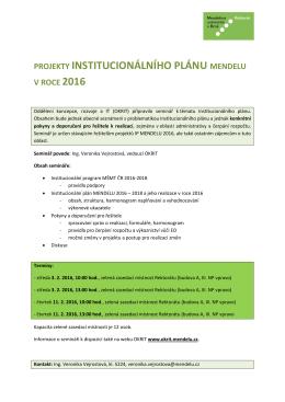projekty institucionálního plánu mendelu v roce 2016