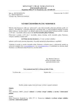 návrh územního plánu nedomice 2015