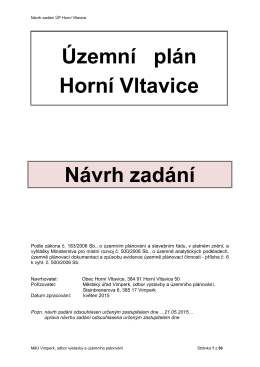 Územní plán - návrh zadání - Obecní úřad Horní Vltavice