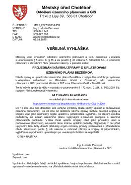 projednání návrhu zprávy o uplatňování územního plánu Bezděkov