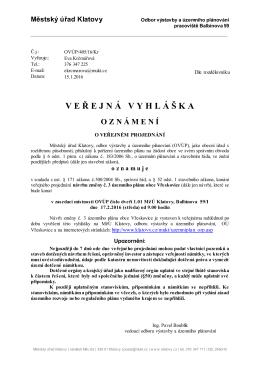 Oznámení o veřejném projednání návrhu změny č.3