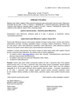 Veřejná vyhláška – oznámení vydání Územního plánu Mikulovice