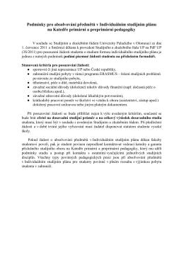Podmínky pro absolvování předmětů v Individuálním studijním plánu
