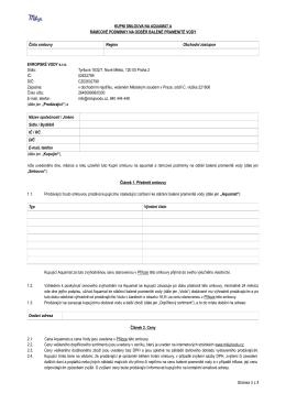 Kupní smlouva na aquamat a rámcové podmínky na