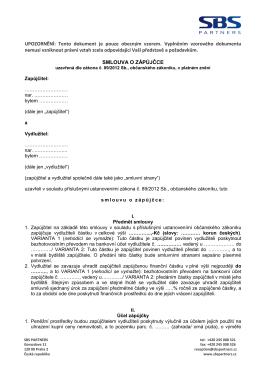 Vzor smlouvy o zápůjčce ()