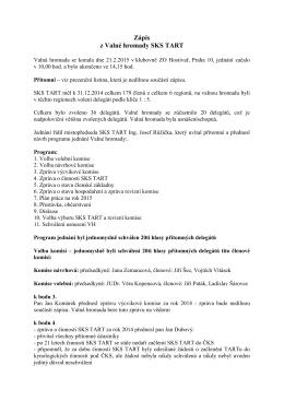 Zápis z Valné hromady SKS TART