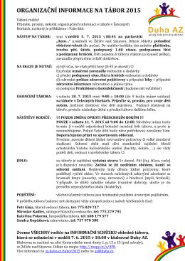 ORGANIZAČNÍ INFORMACE NA TÁBOR 2009