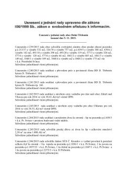 Usnesení z jednání rady obce Dolní Třebonín konané dne 5. 11. 2015.